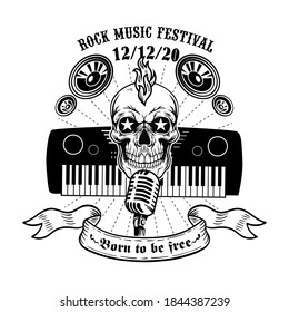 Retro skull and piano or synthesizer vector illustration. Monochrome dead head for live music festival sign. Rock and roll concept can be used for retro template, banner or poster