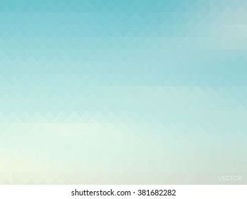 retro sky with soft cloud background, low poly style vector