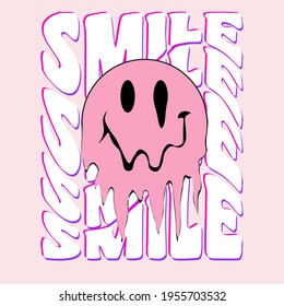 Retro slogan print with smile face - Hipster graphic vector pattern for tee - t shirt and sweatshirt