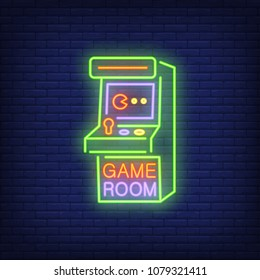 Retro slot machine with Game Room lettering on brick background. Neon banner. Videogame, arcade machine, hobby. Game concept. For topics like entertainment, leisure, retro