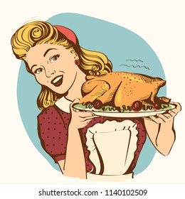 Retro smiling housewife cooks roasted turkey in the kitchen.Vector color illustration isolated on white