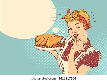 Retro smiling housewife cooks roasted turkey in the kitchen background with bubble for text