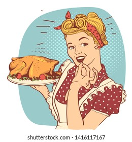 Retro smiling housewife cooks roasted turkey in the kitchen.Vector illustration isolated on white