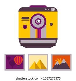 Retro snapshot camera isolated on white background. Photocamera and photos icon .