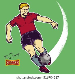 Retro soccer player shooting a ball vector illustration. Isolated artwork object. Suitable for and any print media need.