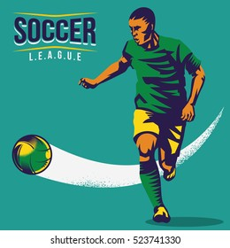 Retro soccer player shooting a ball vector illustration. Isolated artwork object. Suitable for any print and on-line media need.