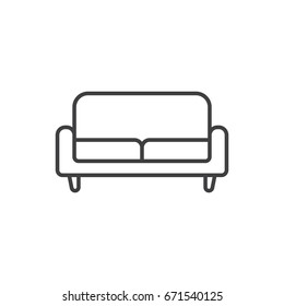 Retro sofa line icon. Living room furniture.