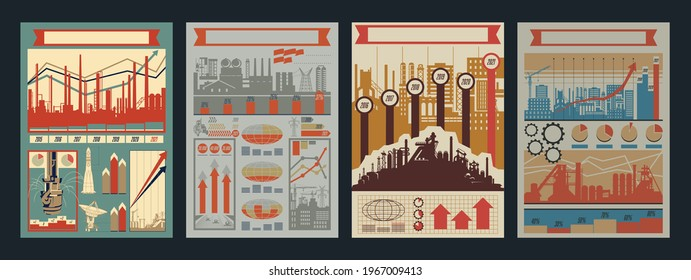 Retro Soviet Infographic Style Templates for Propaganda Posters and Illustrations