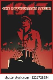 Retro Soviet Propaganda Poster Stylization. Communist Leader and Cruiser Aurora