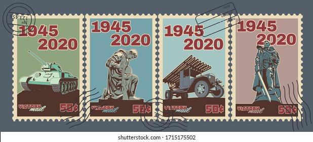 Retro Soviet Victory Day Postage Stamps Stylization. World War 2 Victory Day 1945 - 2020 Postmarks