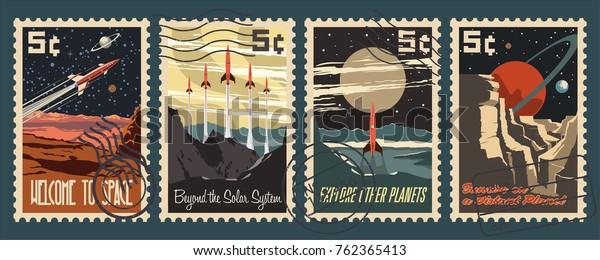 Почтовые марки ретро космонавтики. Стилизация под американской почтовой маркой середины века