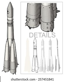 Retro Space Rocket at Engraving style. Hi detailed EPS-8 separated by layers for easy edit