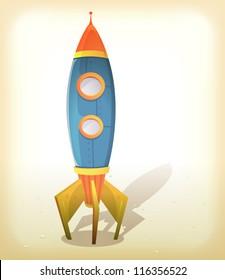 Retro Spaceship Landing/ Illustration of a vintage design cartoon spaceship landing on an elegant retro frame background with little rocks on some lunar or martian ground