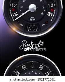 Retro Speedometer. Tachometer. Realistic vector. Round. Metal. Classic. Pattern