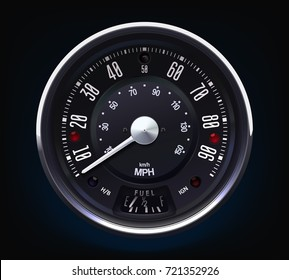 Retro Speedometer. Tachometer. Realistic vector. Round. Metal. Classic.