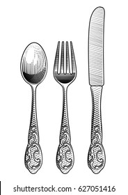 Retro spoon, fork and table knife. Vintage stylized drawing of cutlery set. Vector illustration