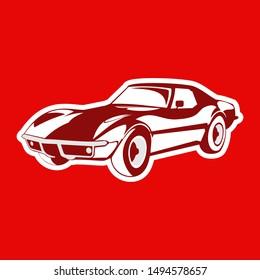 retro sport car. Supercar tuning. Flat style vector illustration