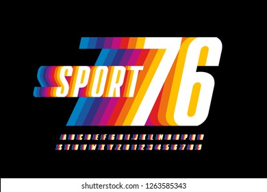 Retro sport style colorful font design, alphabet letters and numbers vector illustration