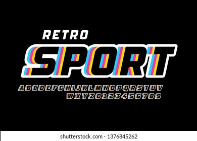 Retro sport style font design, alphabet letters and numbers vector illustration
