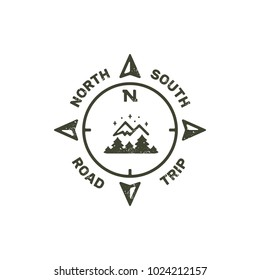 Retro stamp logo for travelers with mountains, forest and compass. Grunge textured logotype