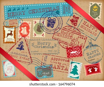 Retro stamps for Christmas holidays.
