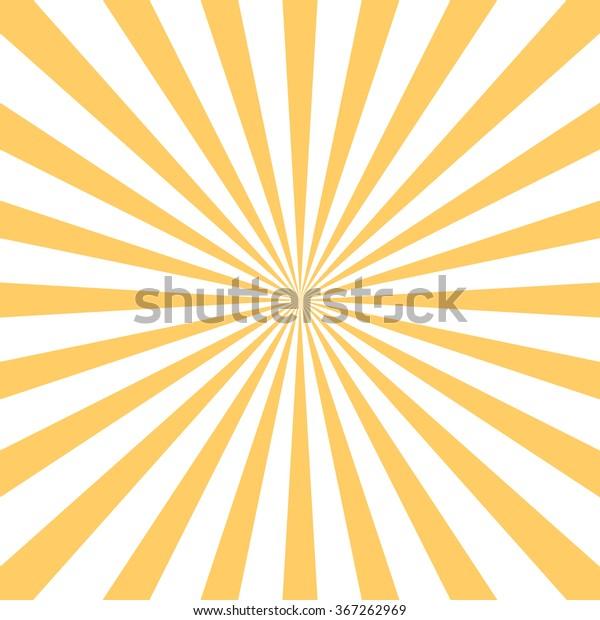 Retro starburst background. Centric Yellow sunburst vector pattern, Sun burst retro texture. Flat line rays illustration. Shiny template for your design, seamless backdrop.