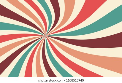 retro starburst or sunburst background vector pattern with a vintage color palette of burgundy red pink peach teal blue and beige white in a spiral or swirled radial striped design