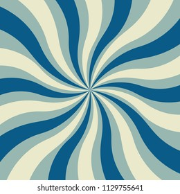 retro starburst or sunburst background vector pattern with a vintage color palette of dark and light blue with yellow white or beige in a wavy spiral striped design