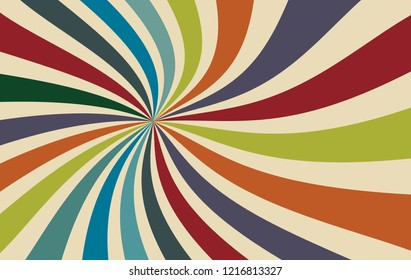 retro starburst or sunburst background vector pattern with a dark vintage color palette of red orange blue green and beige white in a spiral or swirled radial striped design