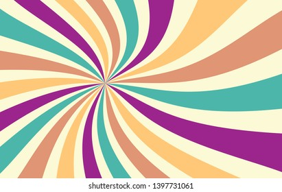 retro starburst or sunburst background vector pattern with a fun vintage color palette of purple gold blue green orange brown and yellow beige in a spiral or swirled radial striped design