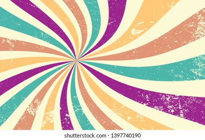 retro starburst or sunburst background vector pattern with a vintage color palette of blue green gold purple yellow orange and beige in spiral or swirled radial striped design with old grunge texture