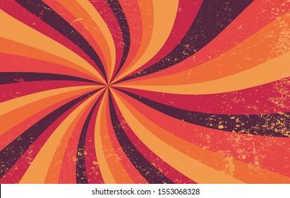 Retro-Starburst-Vektorillustration-Muster und farbige Schmutzspritzer-Farbpalette