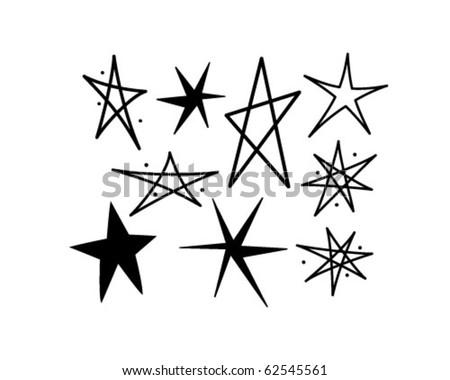 Retro Stars 10 Retro Clipart Illustration Stock Vector Royalty Free