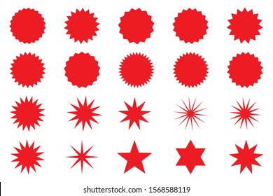 Retro stars, sunburst. Red beams firework. Design elements. Best for sale sticker, price tag, quality mark. Flat vector illustration Isolated on white background.
