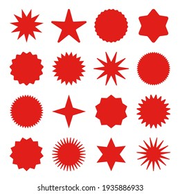 Retro stars, sunburst symbols. Vintage sunbeam icons. Red shopping labels, sale or discount sticker, quality mark. Special offer price tag, promotional badge. Vector illustration.