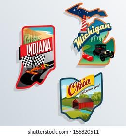 Retro state shape illustrations of Indiana, Michigan, Ohio