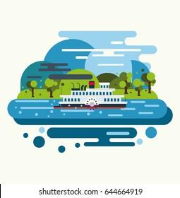 Retro Steam Boat. Vintage Travel Concept. Flat Vector Illustration.