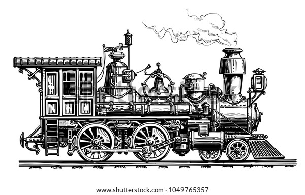 Image Vectorielle De Stock De Locomotive A Vapeur Retro Train Dessin 1049765357