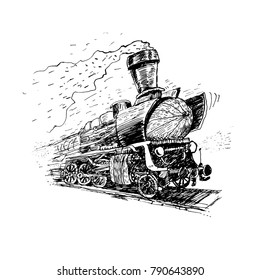 Retro steam locomotive. Vector hand drawn Illustration, vintage stylized drawing. Engraved style
