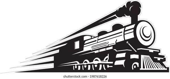 Retro steam train locomotive engine travelling fast railway track with big smoke vector