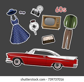 Retro stikers. Set of vintage objects on white background. Old fashion 60's. Icons of cars, clothes and electronics. Vector illustration