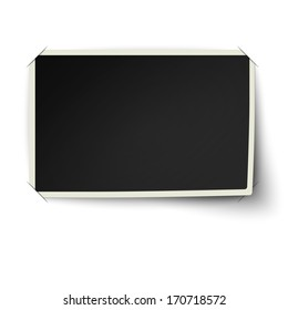 Retro straight edges photo frame with one not fixed corner in photo album isolated on white background