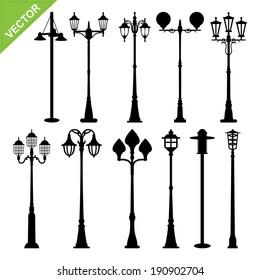 Retro street lamps silhouettes vector