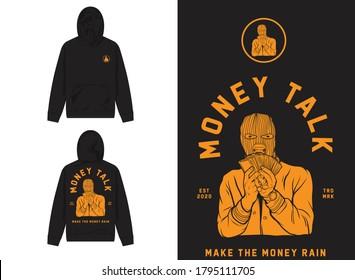 Retro Street Wear Hoodie. Money Talk, Mask Man