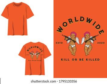 Retro Street Wear T-shirt. Worldwide, Baby Angel, AK47