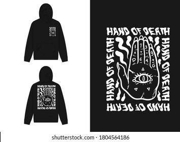 Retro Streetwear Hoodie The Fortune Teller's Hand, Hand Of Death