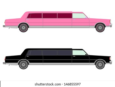 Retro stretch limo on a white background in two colors.