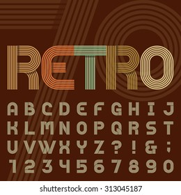 Retro stripe alphabet font. Sans serif type funky letters, numbers and symbols in trendy design. Stock vector typography for headlines, posters in 70s style etc. Easy color change.