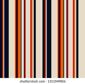 Retro stripe pattern with navy blue, orange, red and beige colors vertical parallel stripes.Vector abstract background.