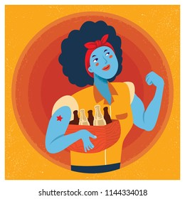 Retro Strong Powerful Woman Illustration. Inspired by the Famous World War Two propaganda Poster of Rosie the Riveter calling for women to play their part in the war effort